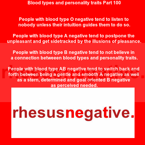 Blood types and personality traits Part 100 - Rh Negative
